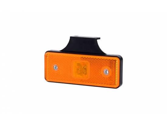 HORLD161 FEU DE POSITION LED ORANGE RECTANGULAIRE 12/24V AVEC SUPPORT COUDE ARRIERE 90°